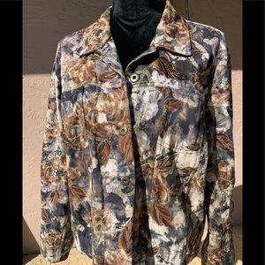 Woman's brown denim print jean jacket from Chico's